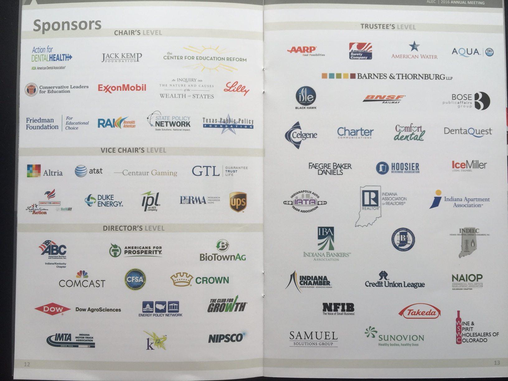 ALEC Indianapolis 2016 sponsors