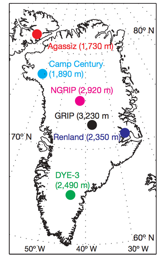 Map of Greenland showing the Location of the six ice core records used in the Vinther et al 2009 Greenland Holocene temperature reconstruction, from Figure 1a in their paper.