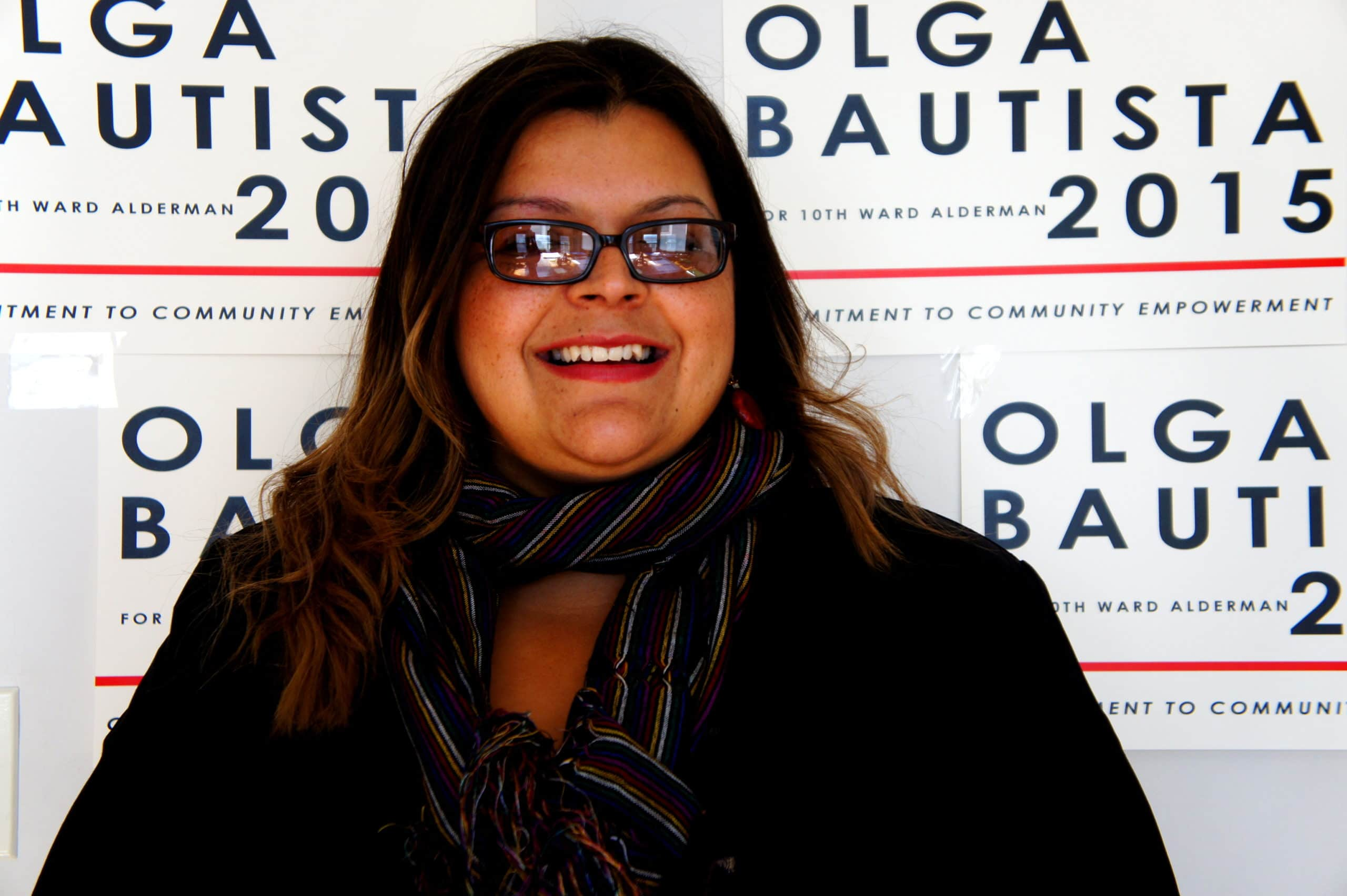 Olga Bautista has lead the fight to ban pet coke storage in Southeast Side, Chicago. Now she's running for 10th Ward Alderman. (Credit Anna Simonton)