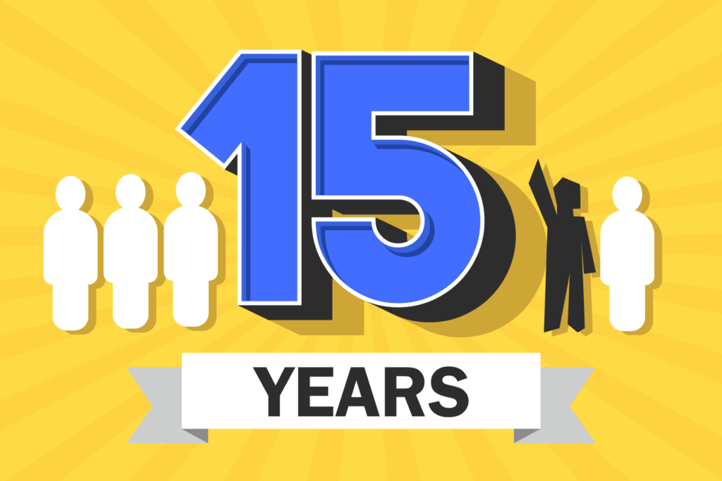 15 years with four stylized people on a yellow background