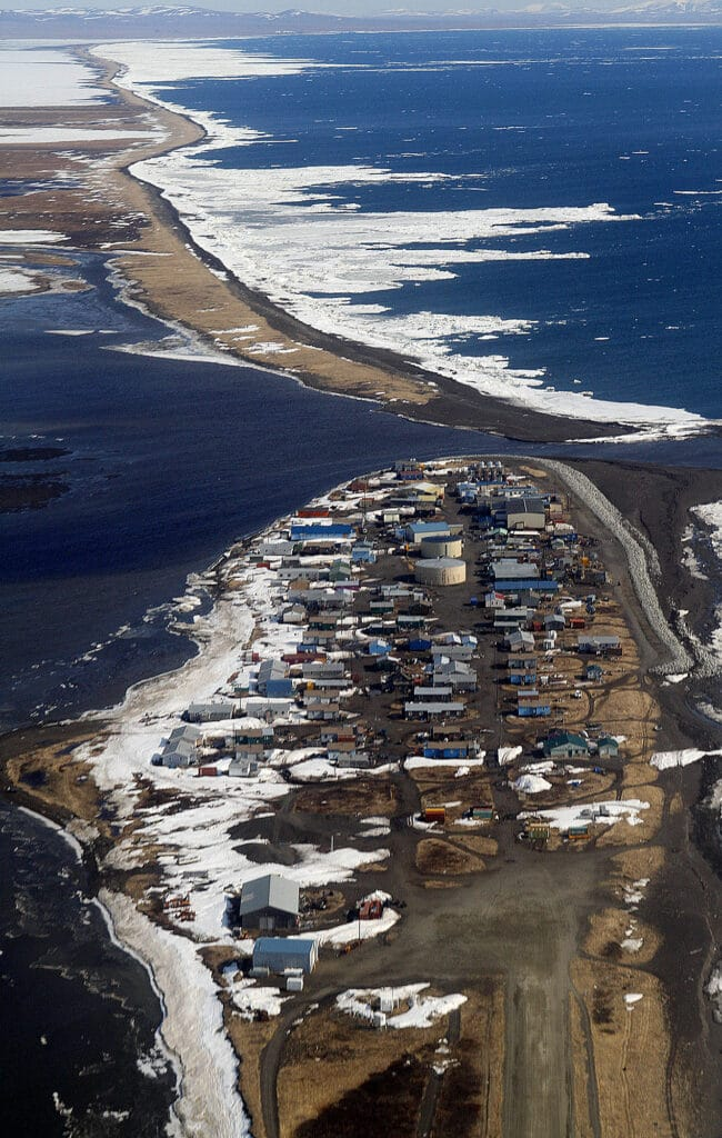 Aerial view of small Arctic town of Kivalina, Alaska, and other barrier islands.
