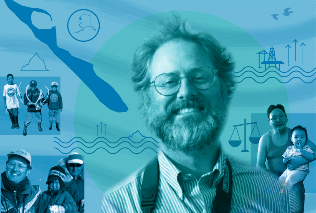 Photo collage of Luke Cole, Enoch and Lucas Cole Adams, and children of Kivalina, on a blue-green background with island, sea level rise, and scales of law icons