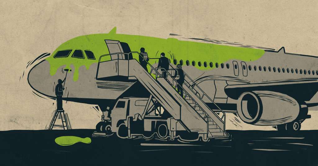 Illustration of people boarding and painting an airplane green