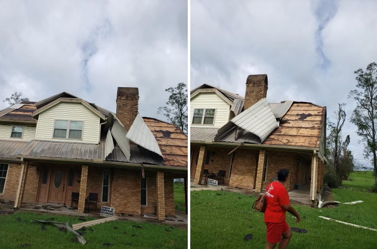 Left, a cream and tan brick home with parts of roof missing. Right, a woman in red in front of the same home with more roof damage.
