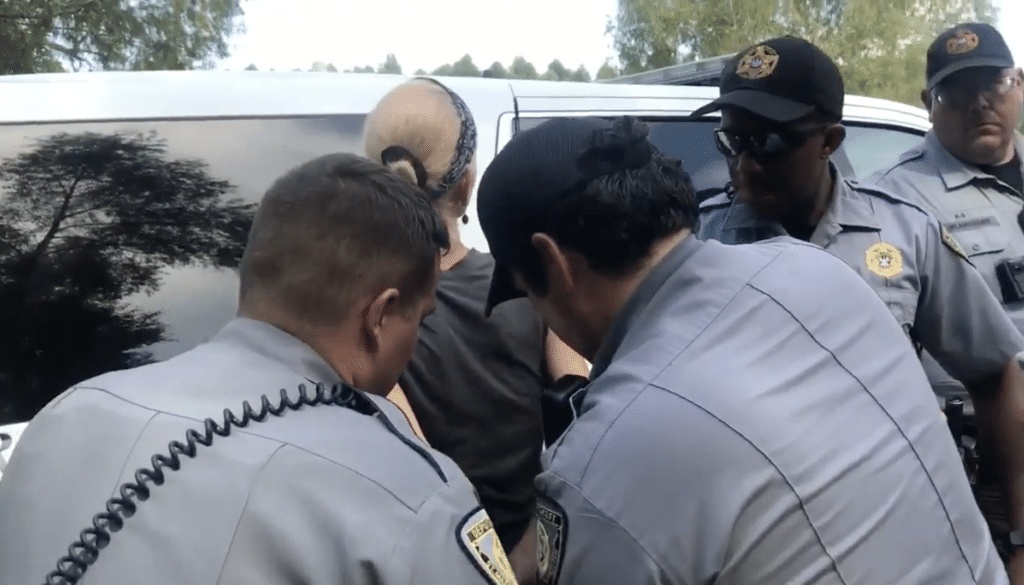 A blonde woman is pressed against an SUV while three men in gray law enforcement uniforms handcuff her, with a fourth looking on