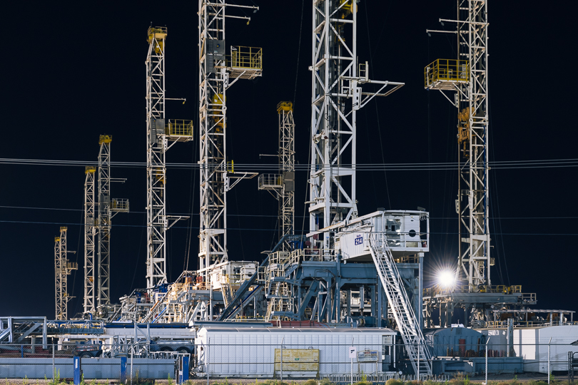 Drilling rigs stacked at a yard in Midland, Texas, after oil prices went negative in April 2020