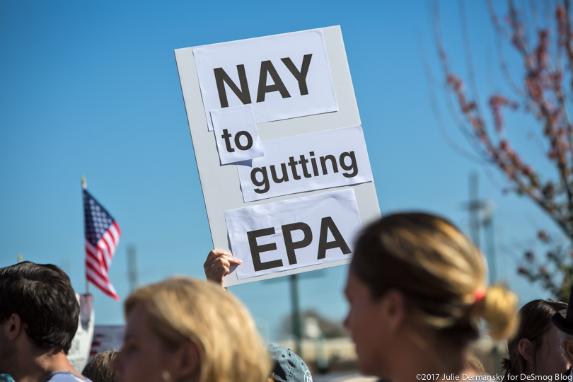 A sign protesting gutting the EPA.