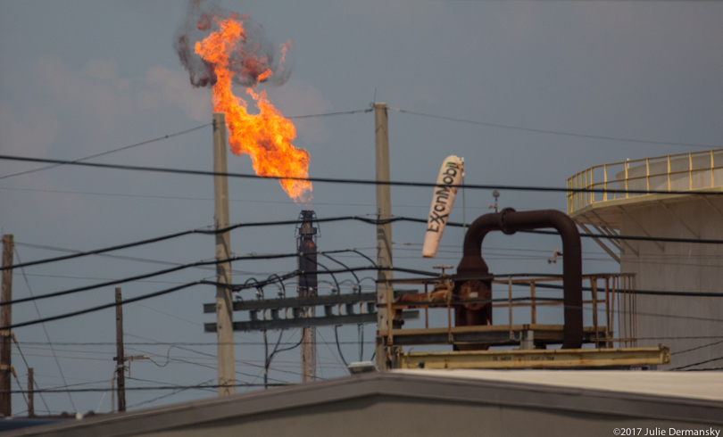A flare at ExxonMobil Beaumont facility after Hurricane Harvey