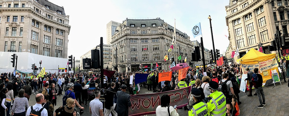 Oxford Circus in London during the Extinction Rebellion protest in April 2019