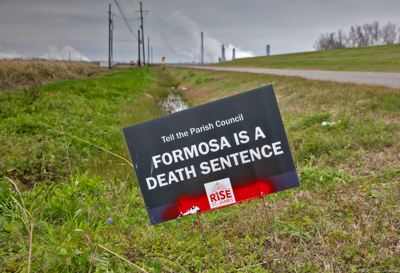 One of many signs with a message protesting against Formosa's proposed petrochemical complex in St. James, Louisiana.