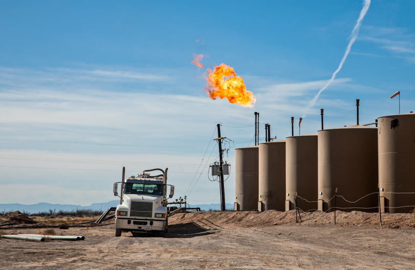 Flare at an oil and gas production site in the Permian Basin near Pecos.