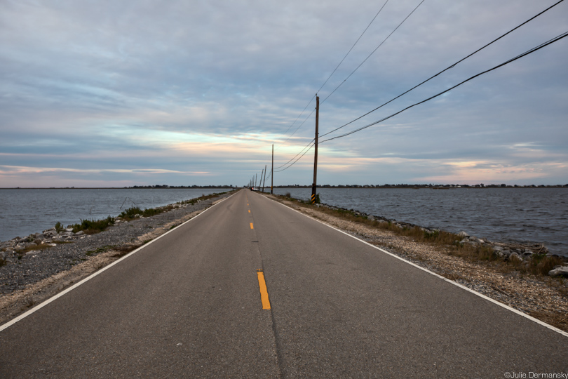 Island Road, the only road connecting Isle de Jean Charles to the mainland of Louisiana.