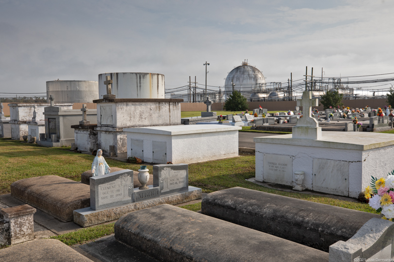 The Holy Rosary Cemetery next to the Dow Chemical Company facility near the Mississippi River in Hahnville, Louisiana.