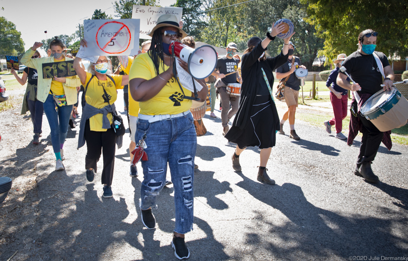 Stephanie Cooper, VP of RISE St. James, leading a chant during a protest march in Louisiana