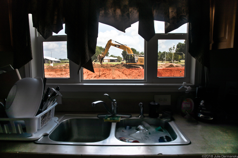View from Tillies' kitchen of construction of the pipeline