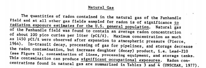 Excerpt from American Petroleum Institute's 1982 report on radioactive exposures in oil and gas industry