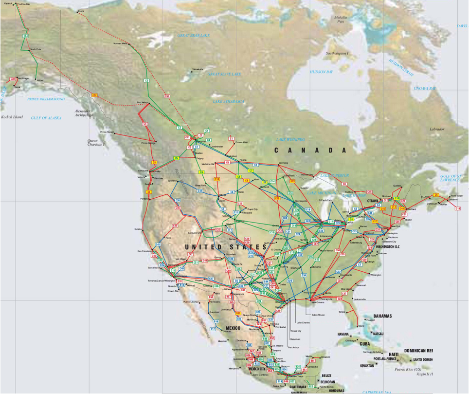 Theodora map of North America pipelines