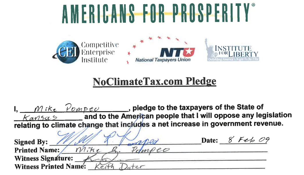 Mike Pompeo No Climate Tax Pledge