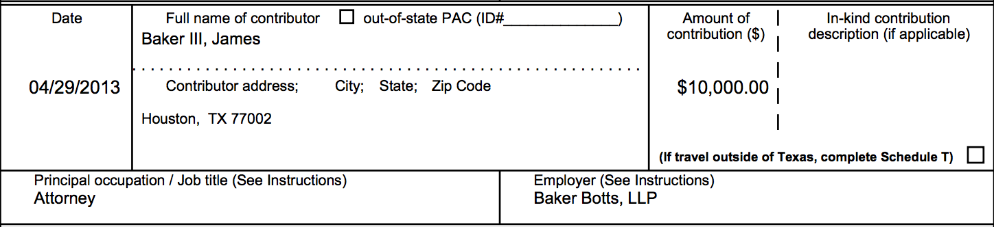 James A. Baker III Campaign Contribution George P. Bush