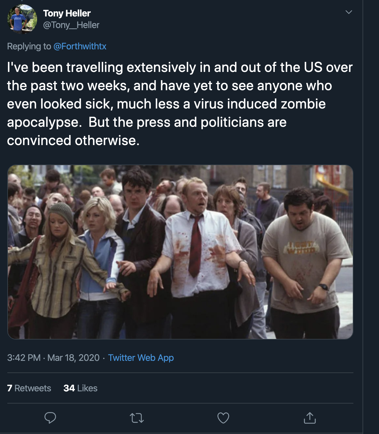 I've been travelling extensively in and out of the US over the past two weeks, and have yet to see anyone who even looked sick, much less a virus induced zombie apocalypse.  But the press and politicians are convinced otherwise.