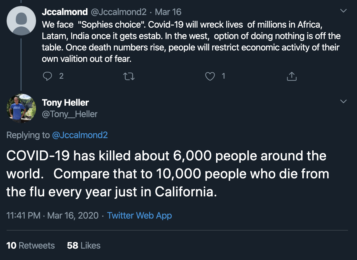 COVID-19 has killed about 6,000 people around the world.   Compare that to 10,000 people who die from the flu every year just in California.