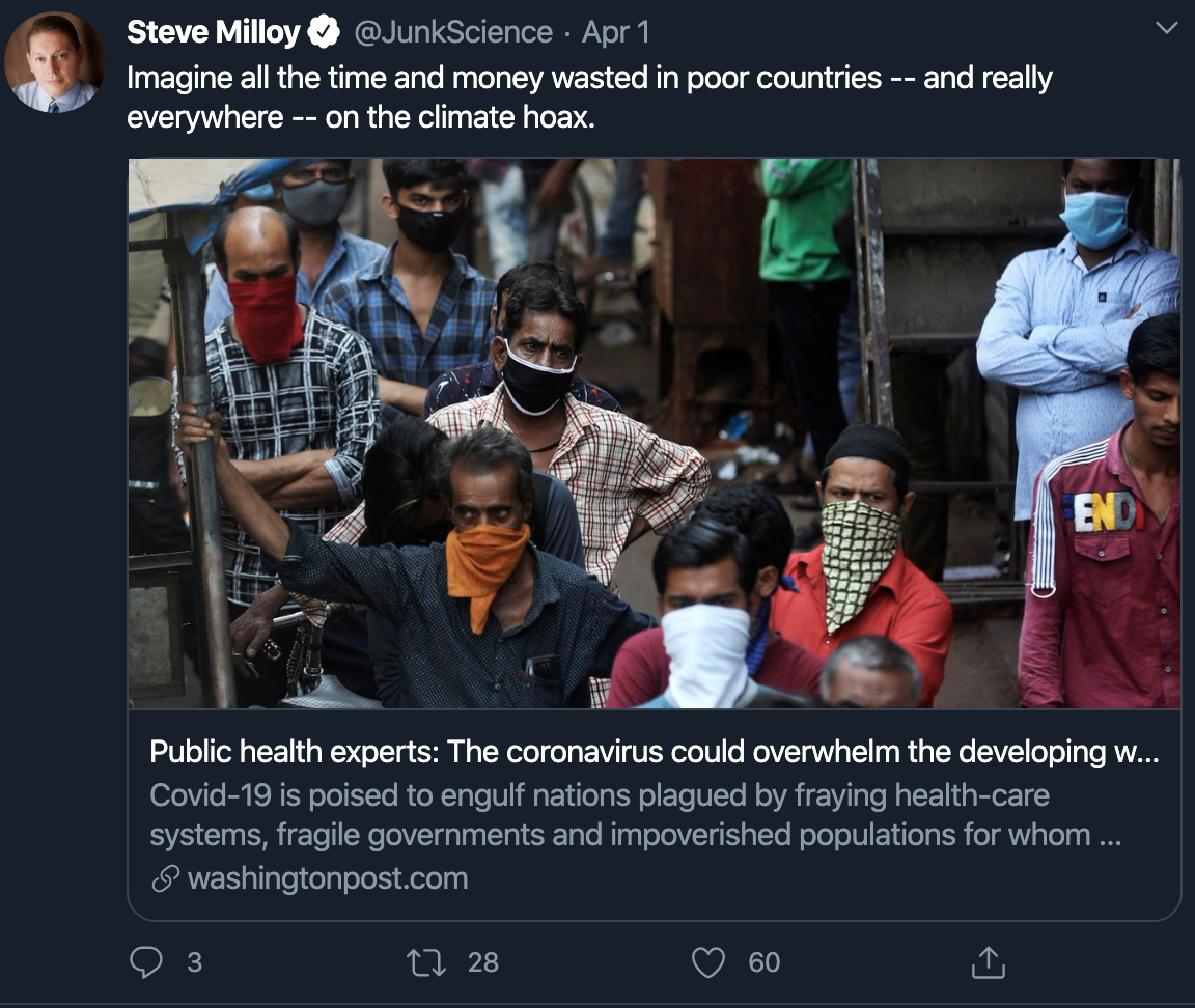 Imagine all the time and money wasted in poor countries -- and really everywhere -- on the climate hoax