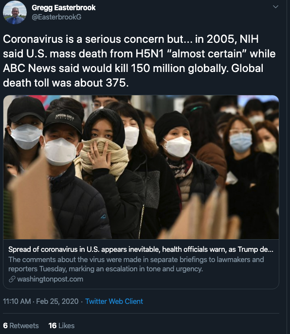 Coronavirus is a serious concern but...