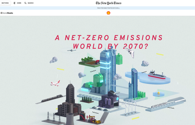 Shell's branded content about its emissions scenario in The New York Times