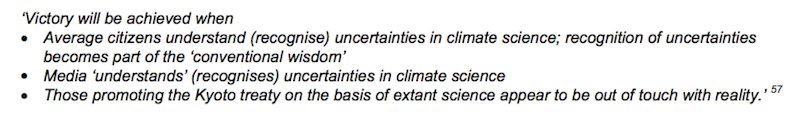 Text from the American Petroleum Institute memo on sowing doubt about climate change.