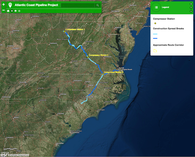 Construction map for Atlantic Coast pipeline