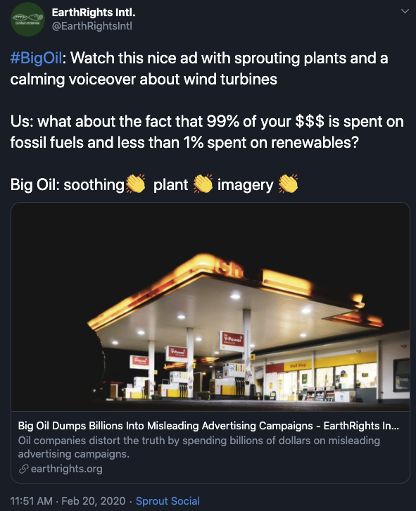 Earth Rights International tweet about big oil advertising