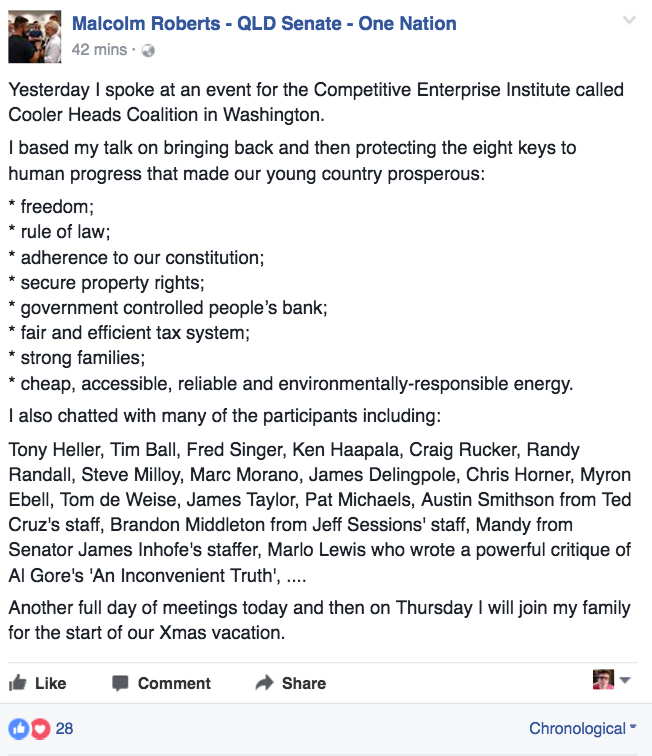 Malcolm Roberts Facebook Post