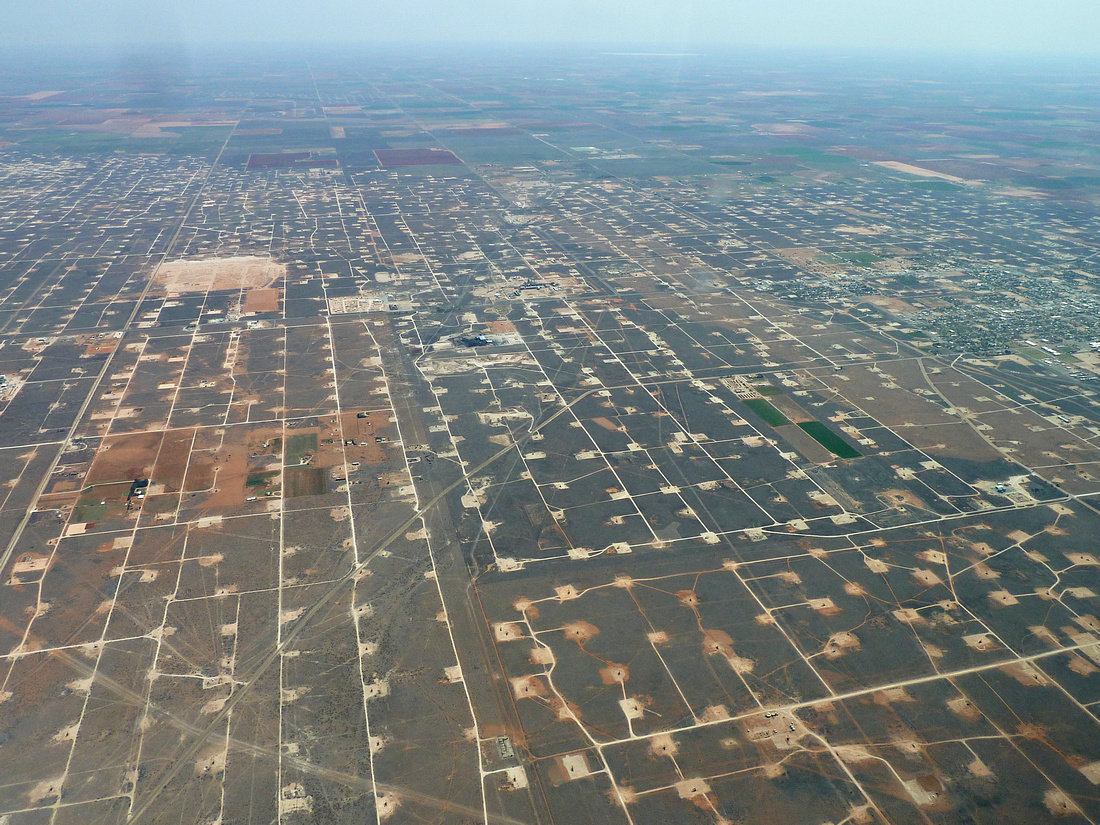 Oil and gas fields form a grid near Midland, Texas, in the Permian shale
