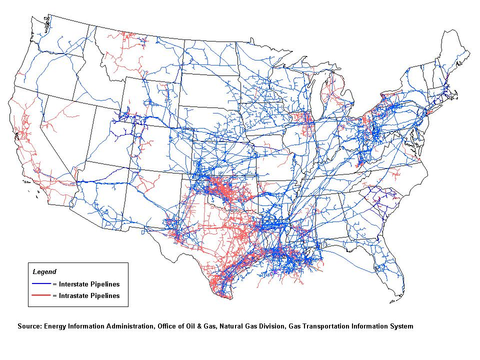 natural gas pipelines map