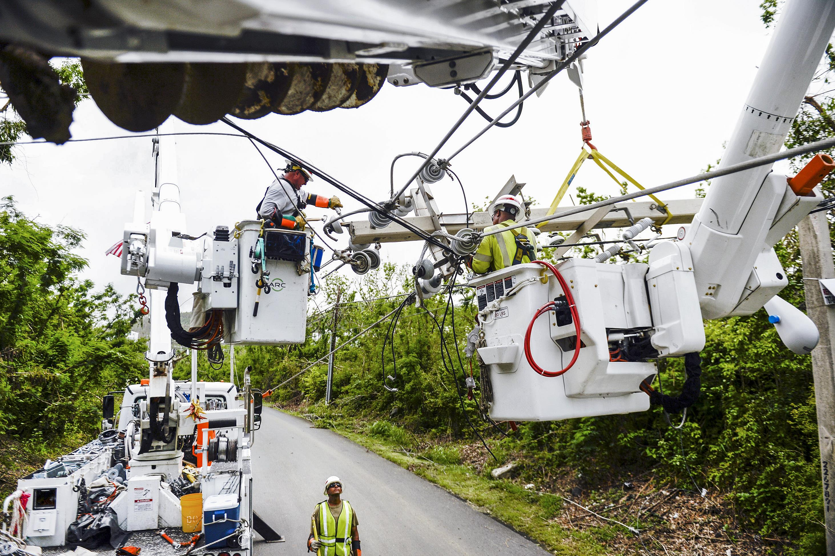 Power line repair after Hurricane Maria hit Puerto Rico