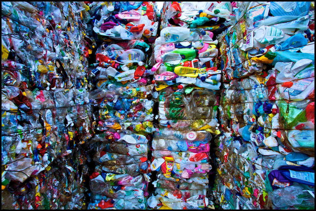 Plastics stacked for recycling