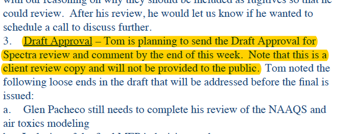 Screenshot of email from a Spectra consultant saying the opportunity to edit the draft approval is exclusive to Spectra.