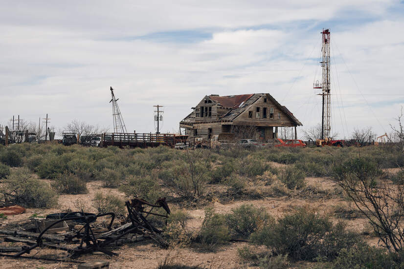 A drilling rig on a former ranch outside of Barstow, Texas, in the Permian Basin.