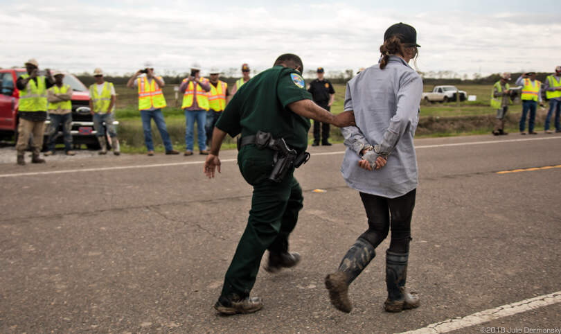 On February 26, Anne White Hat, Rosebud Lakota Nation, was among those arrested after protesting at a Bayou Bridge pipeline construction site.