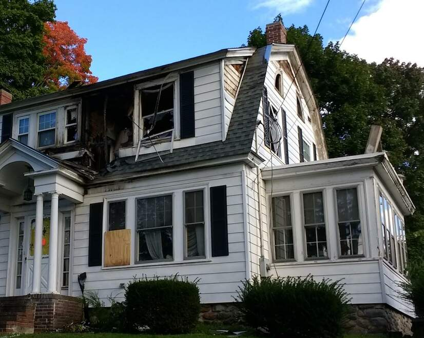 The damage done to a home in North Andover, Massachusetts due to a gas explosion on September 13, 2018.