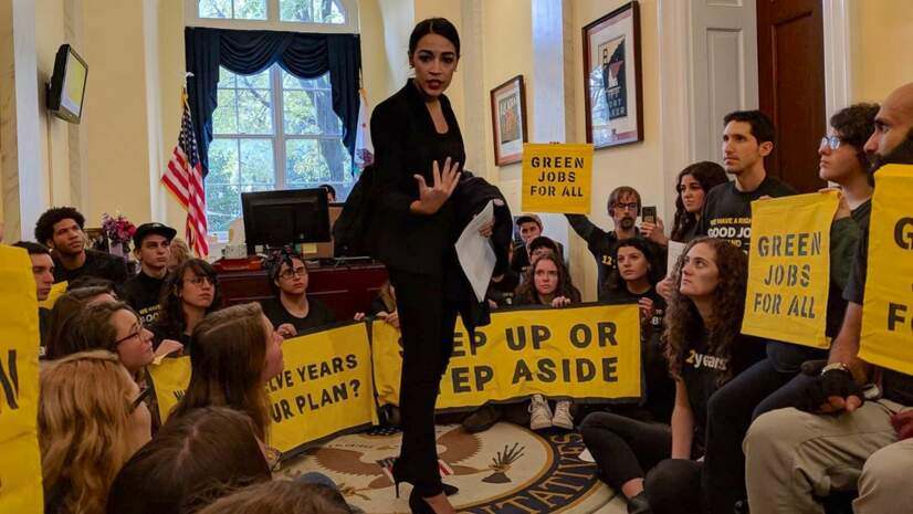 Rep.-elect Alexandria Ocasio-Cortez speaking to the Sunrise Movement and Green New Deal supporters