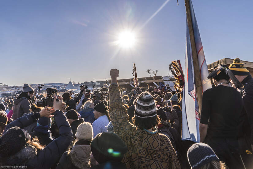 People opposing the Dakota Access pipeline gather at Standing Rock in North Dakota, December 4, 2016.