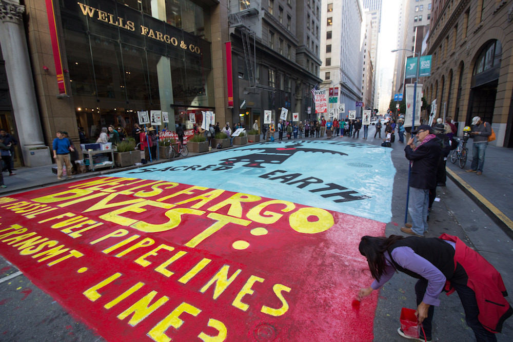 Wells Fargo divest from fossil fuels protest and art